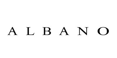 Logo albano scarpe nero su bianco
